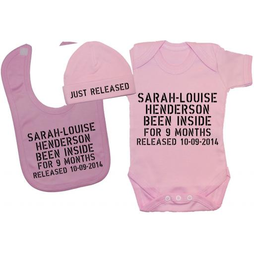 Personalised Been Inside Baby Bodysuit, Romper & Bib & Hat