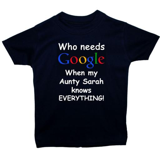 Google Aunty Personalised Name Baby, Children T-Shirt, Top