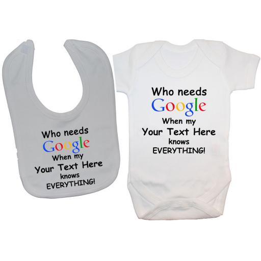 Personalised Google Baby Grow, Bodysuit, Romper & Feeding Bib