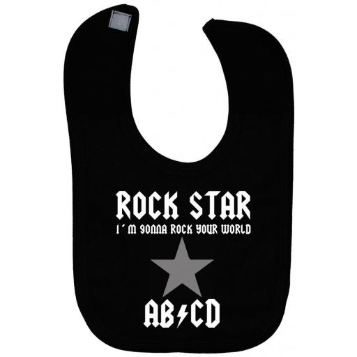 Rock Star...Rock Your World Baby Feeding Bib Newborn-3y