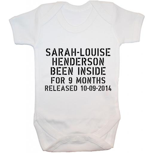 Been Inside Personalised With Name, Date Baby Grow, Bodysuit