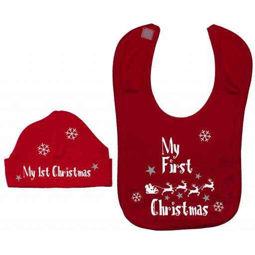 My First Christmas with Sleigh Baby Feeding Bib & Hat Xmas