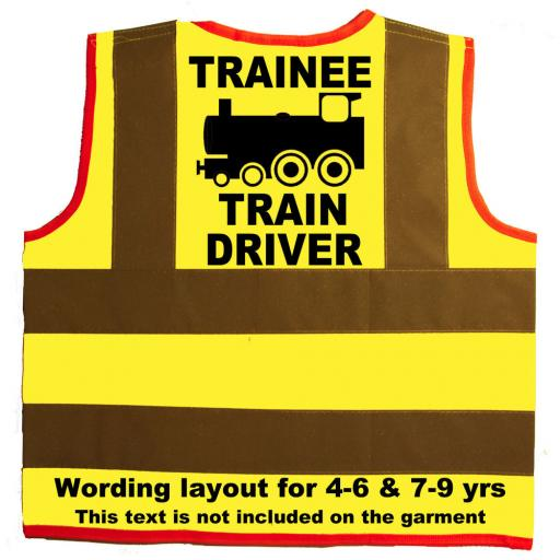 Trainee Train Driver Hi Visibility Children's Kids Safety Jacket