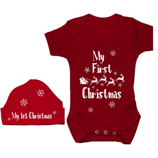 My First Christmas with Sleigh Baby Grow, Bodysuit & Beanie Hat