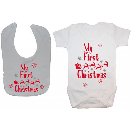 My First Christmas with Sleigh Baby Grow, Bodysuit & Feeding Bib