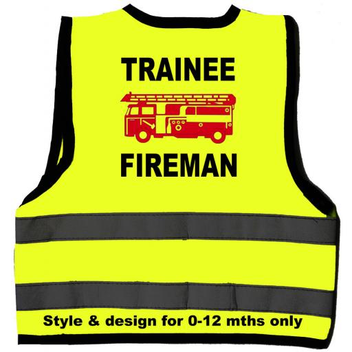 Trainee Fireman With Red Engine Hi Visibility Children's Kids Safety Jacket