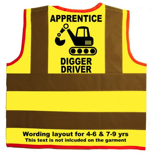 Apprentice Digger Driver Hi Visibility Children's Kids Safety Jacket