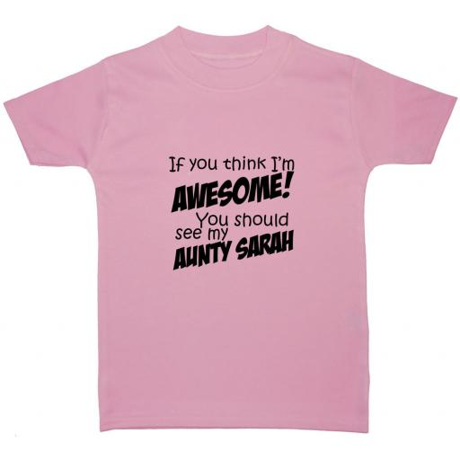 Awesome Aunty Personalised Name Baby, Children T-Shirt