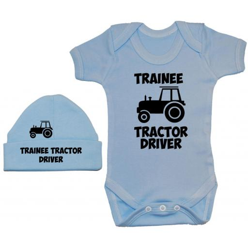 Trainee Tractor Driver Bodysuit, Baby Grow & Beanie Hat