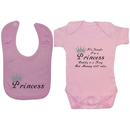 It's Simple I'm a Princess Baby Grow, Bodysuit, Romper & Feeding Bib