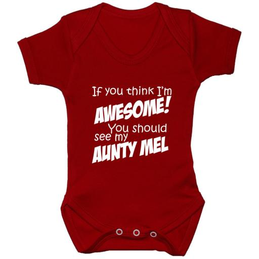 Awesome Aunty Personalised Baby Grow Bodysuit, Romper