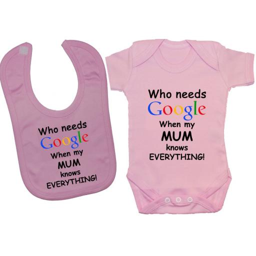 Who Needs Google When My Mum Baby Bodysuit & Feeding Bib