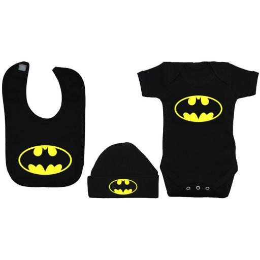 Bat Baby Grow Bodysuit, Romper Feeding Bib & Hat Batman