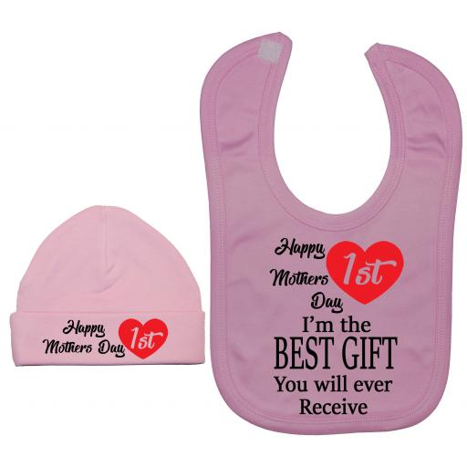 Happy 1st Mothers Day Baby Nursery Feeding Bib & Hat