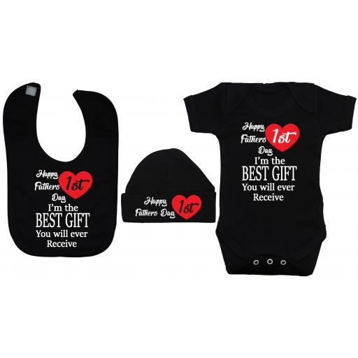 Happy 1st Fathers Day Baby Grow, Bodysuit, Romper, Feeding Bib & Hat
