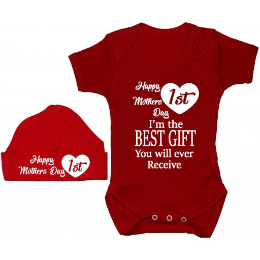 Happy 1st Mothers Day Baby Grow, Bodysuit, Romper & Hat, Cap