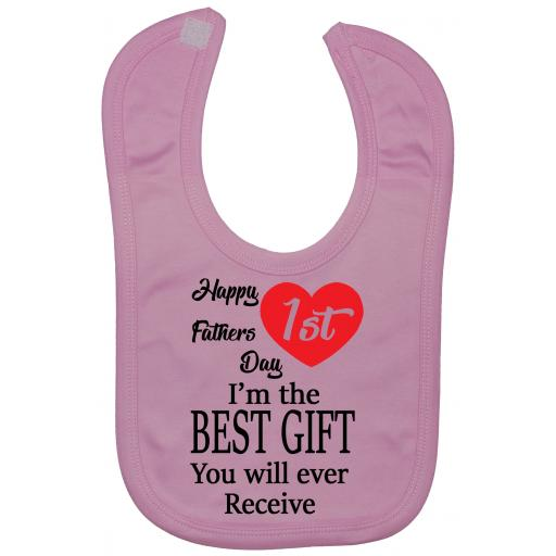Happy 1st Fathers Day Baby Nursary Feeding Bibs