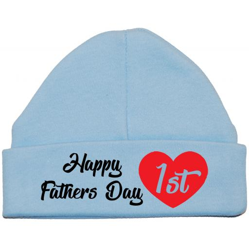 Happy 1st Fathers Day Baby Beanie Hat, Cap 0-12 mths