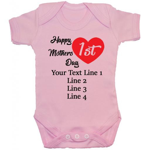 Happy 1st Mothers Day Personalised Baby Bodysuit, Romper, Babygrow