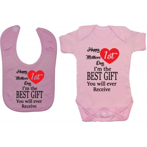 Happy 1st Mothers Day Baby Grow, Bodysuit & Feeding Bib
