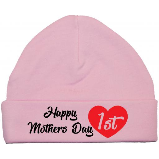 Happy 1st Mothers Day Baby Beanie Hat, Cap 0-12 mths