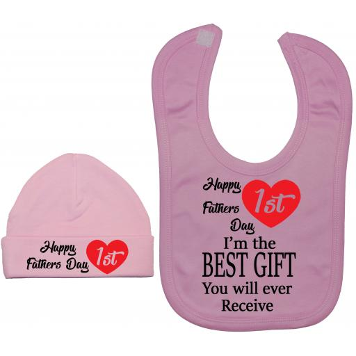 Happy 1st Fathers Day Baby Nursery Feeding Bib & Hat