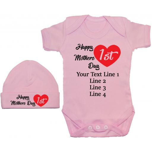 Happy 1st Mothers Day Personalised Baby Grow, Bodysuit, Romper & Hat, Cap