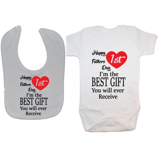 Happy 1st Fathers Day Baby Grow, Bodysuit & Feeding Bib