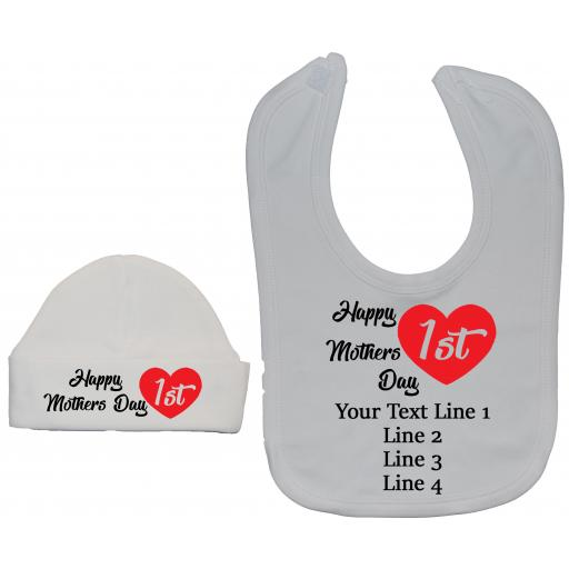 Happy 1st Mothers Day Personalised Baby Feeding Bib & Hat
