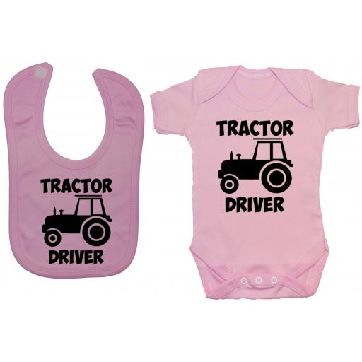 Tractor Driver Baby Grow, Romper & Feeding Bib