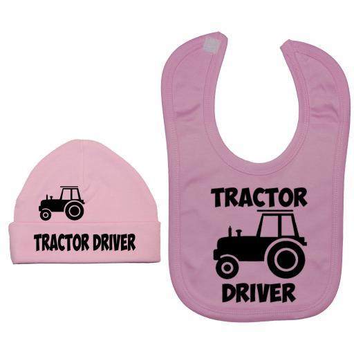 Tractor Driver Nursery Feeding Bib & Hat