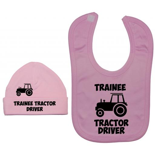 Trainee Tractor Driver Nursery Feeding Bib & Hat