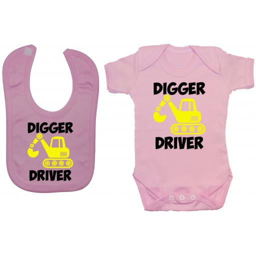 Digger Driver Baby Grow, Romper & Feeding Bib