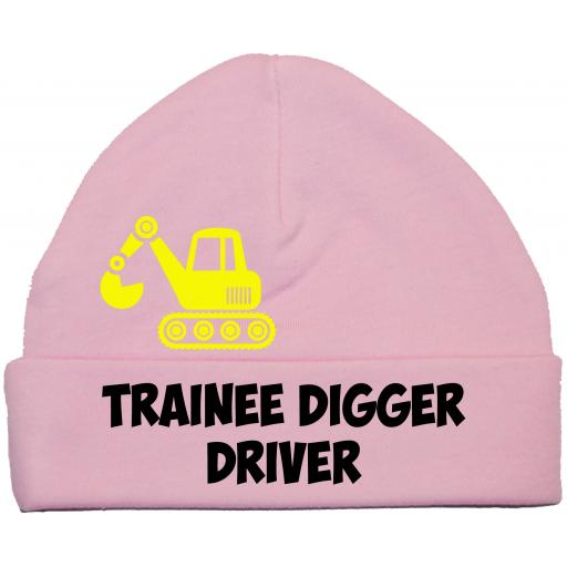 Trainee Digger Driver Baby Beanie Hat, Cap 0-12m