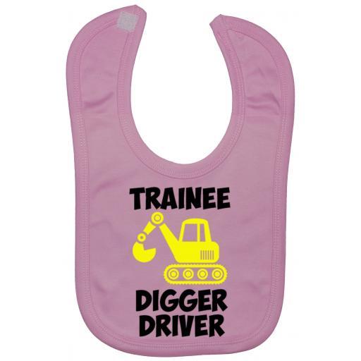 Trainee Digger Driver Baby Feeding Bib Newborn-3 Yrs