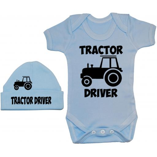Tractor Driver Bodysuit, Baby Grow & Beanie Hat