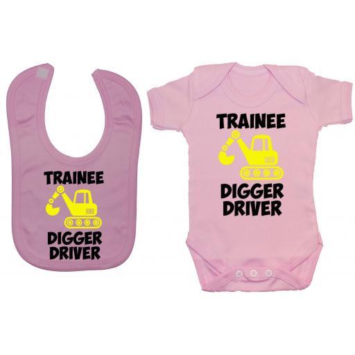 Trainee Digger Driver Baby Grow, Romper & Feeding Bib