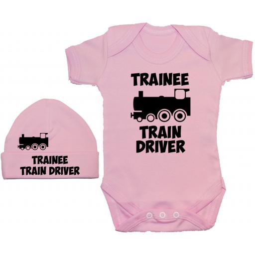 Trainee Train Driver Bodysuit, Baby Grow & Beanie Hat