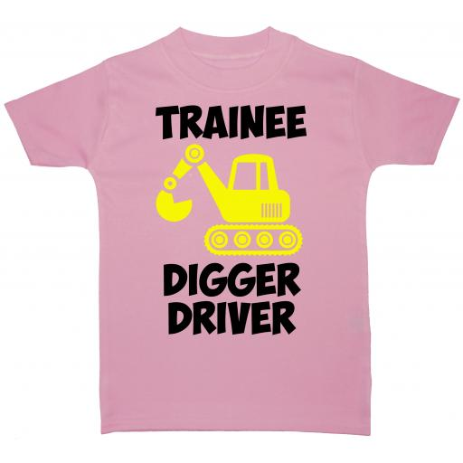 Trainee Digger Driver Baby, Children T-Shirt, Top