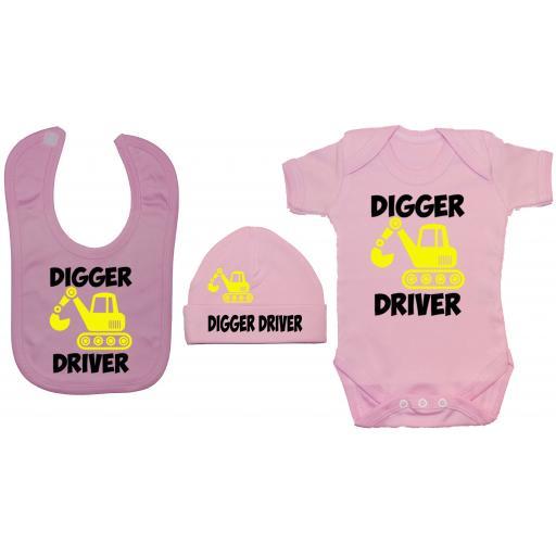 Digger Driver Baby Grow, Bodysuit & Feeding Bib & Hat