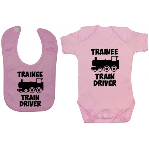 Trainee Train Driver Baby Grow, Romper & Feeding Bib