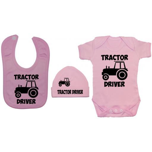 Tractor Driver Baby Grow, Bodysuit & Feeding Bib & Hat