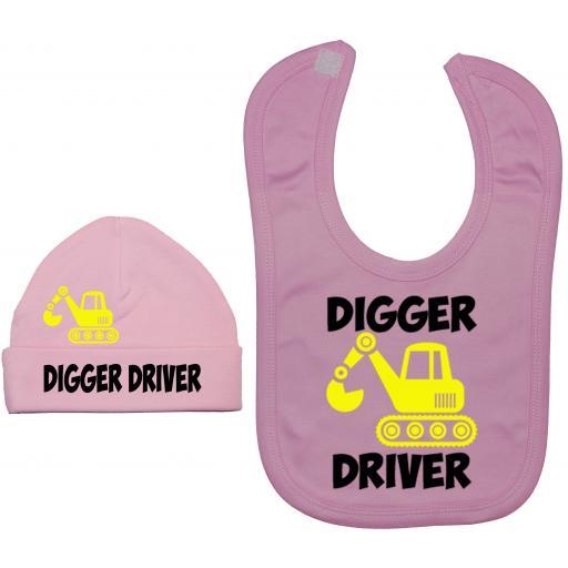 Digger Driver Nursery Feeding Bib & Hat