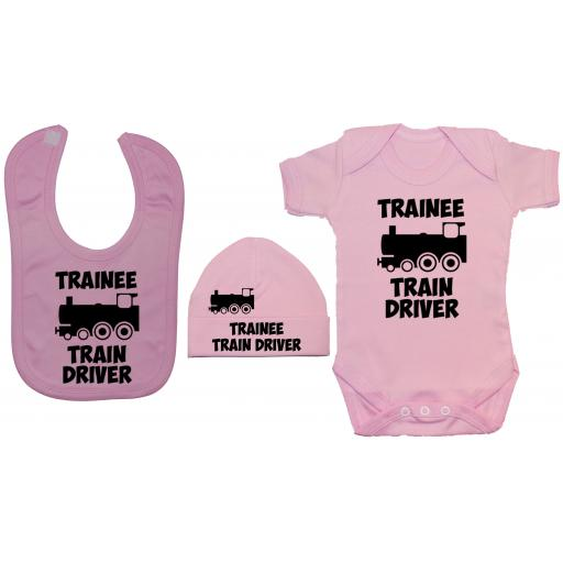 Trainee Train Driver Baby Grow, Bodysuit & Feeding Bib & Hat