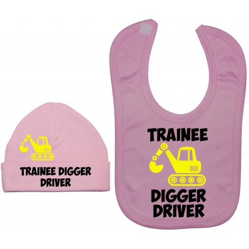 Trainee Digger Driver Nursery Feeding Bib & Hat