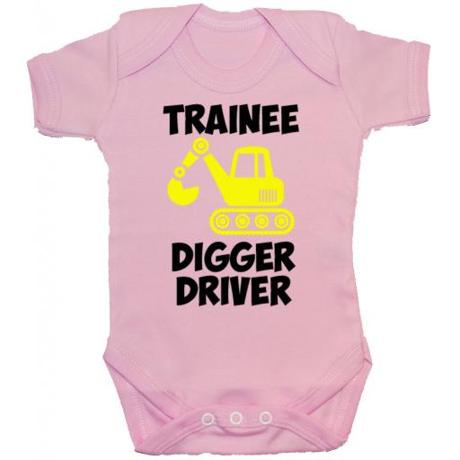 Trainee Digger Driver Baby Grow, Romper, Bodysuit, Vest