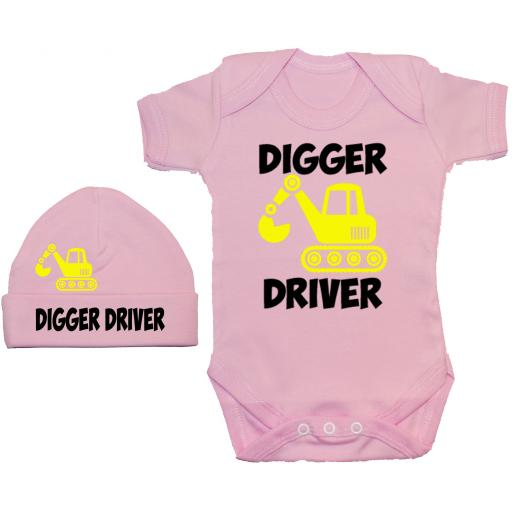 Digger Driver Bodysuit, Baby Grow & Beanie Hat