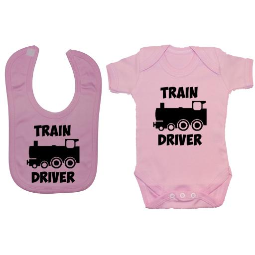 Train Driver Baby Grow, Romper & Feeding Bib