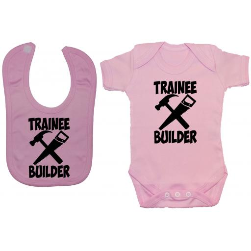 Trainee Builder Baby Grow, Romper & Feeding Bib