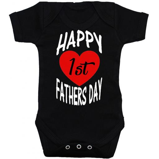 Happy 1st Fathers Day Curved Baby Bodysuit, Romper, Babygrow 0-24 Months